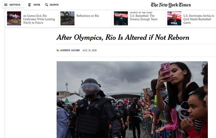 New York Times repercussão (Foto: Reprodução)
