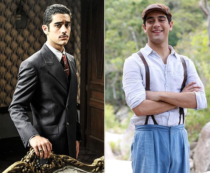 Miguel como Décio em 'Joia Rara' e Quincas na nova novela das 6 (Foto: Ellen Soares/Gshow)