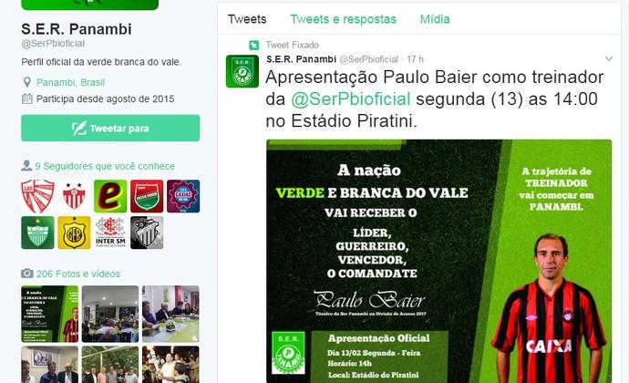 Paulo Baier será apresentado como técnico do Panambi (Foto: Divulgação / S. E. R. Panambi)