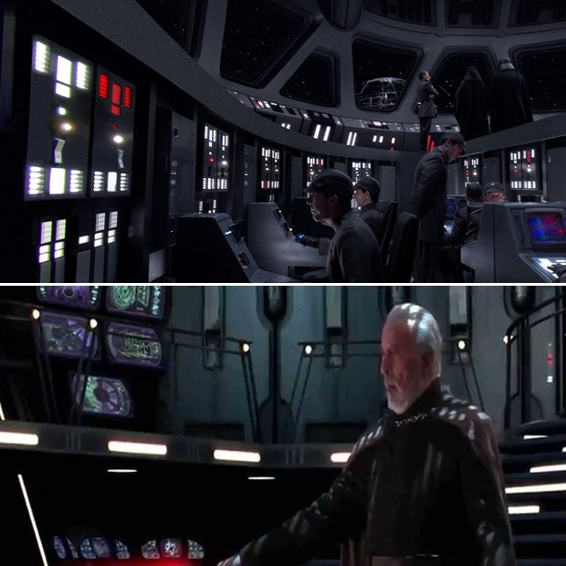 Acima, o painel de uma star destroyer. Abaixo, o super tecnológico da nave do conde Dooku (esse nome...) (Foto: Reprodução)
