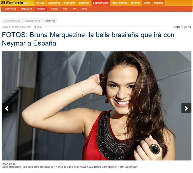 Bruna Marquezine em site estrangeiro (Foto: Reprodução / elcomercio.pe/)
