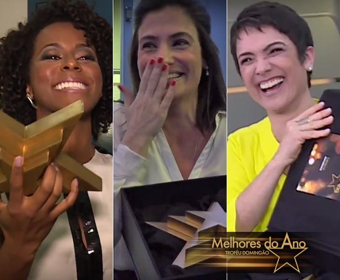 Maju, Renata Vasconcellos e Sandra Annenberg descobrem que estão indicadas ao 'Melhores' (Foto: Gshow)