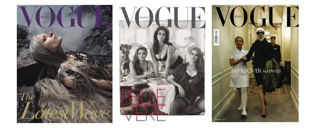 Três capas que marcaram a história da Vogue Itália: a polêmica Water & Oil, de 2010; a celebração à beleza de modelos curvilíneas, de 2011; e a  obsessão por plásticas, que virou assunto em 2005 (Foto: Divulgação)