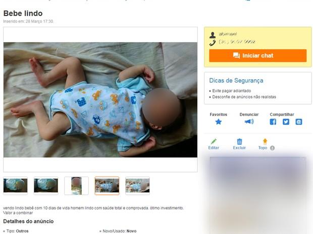 Site de classificados tinha anúncio de venda de bebê, em Contagem, Região Metropolitana de Belo Horizonte (Foto: Reprodução/OLX)