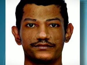Retrato falado do suspeito de espalhar pedaços do corpo de vítima  (Foto: Reprodução TV Globo)