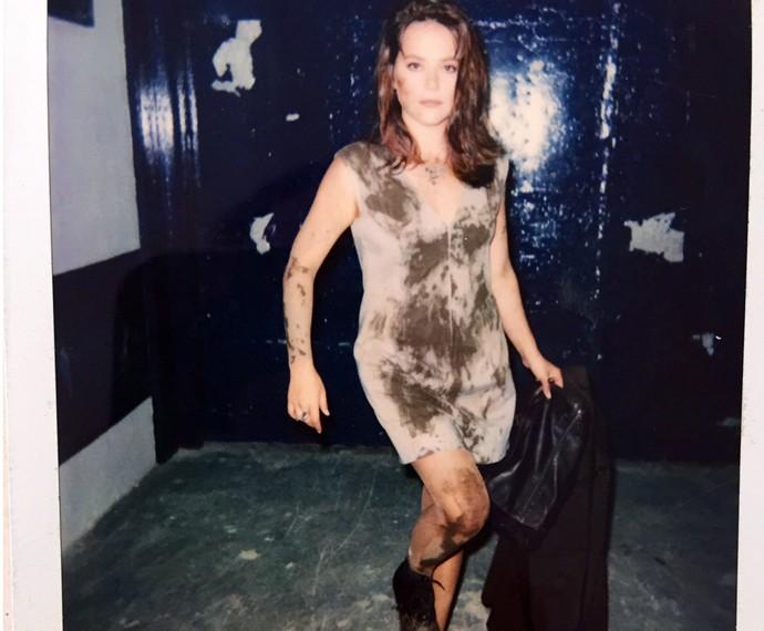 Em foto instantânea, Vivianne Pasmanter registra visual da personagem após cena de 'A Próxima Vítima' (Foto: Arquivo Pessoal)