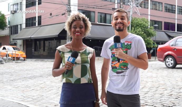 Jaque Santtos e Moacyr Massulo visitam cenário de 'Dois Irmãos' em Manaus (Foto: Rede Amazônica)