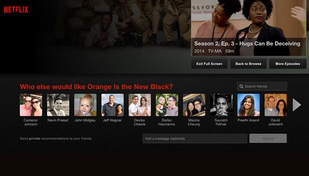 Netflix agora permite recomendar filmes e séries a amigos do Facebook (Foto: Divulgação/Netflix)