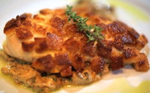Peito de frango crocante com creme de shitake e cream cheese