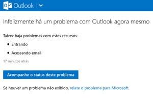 Mensagem de erro no site do serviço de e-mails Outlook.com, que está fora do ar nesta quarta-feira (14). (Foto: Reprodução/Outlook.com)