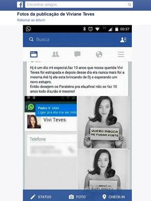 Viviane Teves disse que passou a receber ofensas irônicas com 'parabéns' após ter revelado que foi estuprada há dez anos (Foto: Reprodução/ Arquivo pessoal / Facebook)