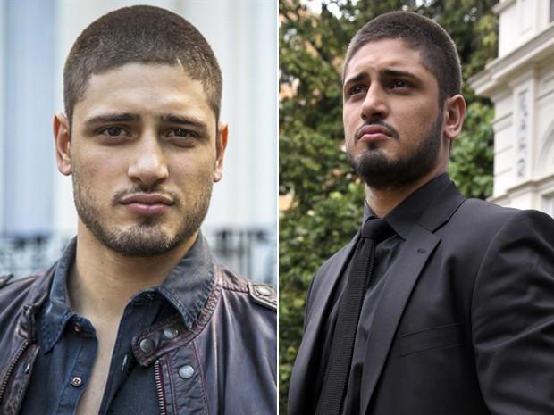 Daniel Rocha escureceu a barba e vestiu terno todo preto na gravação da última cena da novela (Foto: Gshow)