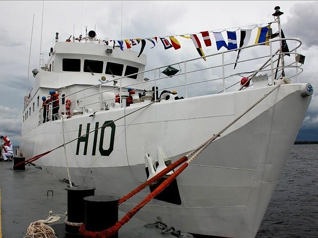 Navio Hidroceanográfico Fluvial (NHoFlu) será usado na Amazônia (Foto: Diego Toledano/ G1 AM)