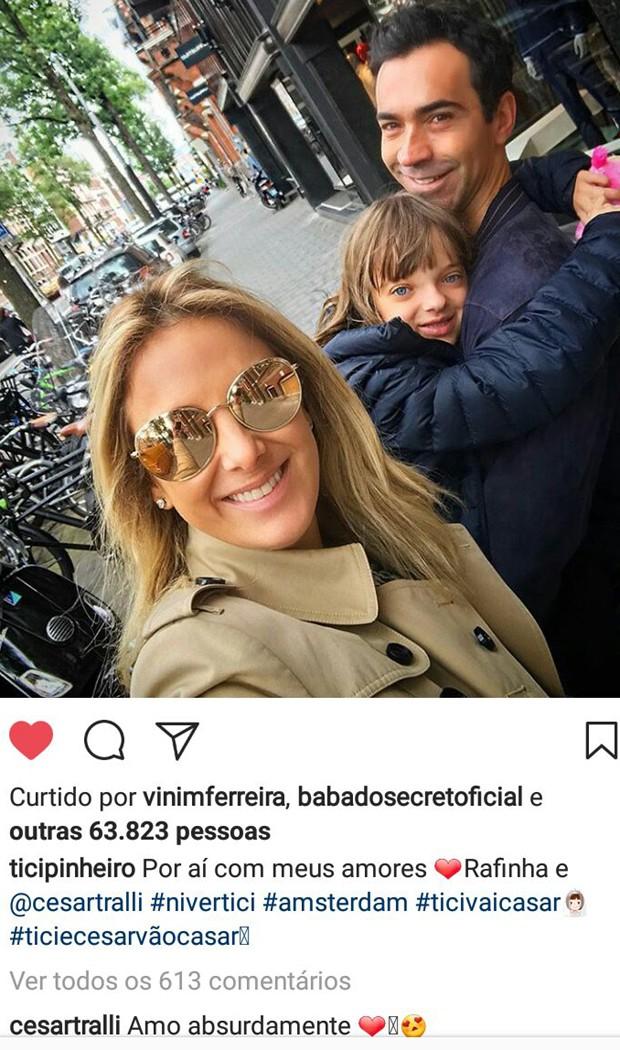 César Tralli comenta post de Ticiane Pinheiro (Foto: Reprodução/Instagram)