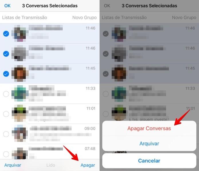 Apagando várias conversas de uma vez iOS (Foto: Reprodução/Helito Bijora)