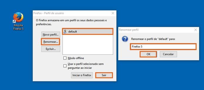 Altere o nome do perfil indicando o Firefox 5 (Foto: Reprodução/Barbara Mannara)
