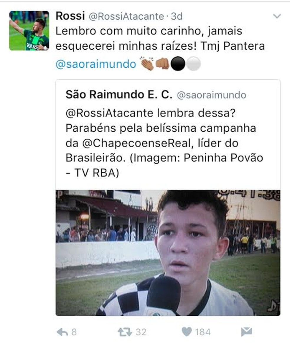 Rossi foi campeão santareno Sub-20 pelo São Raimundo aos 15 anos (Foto: Reprodução/Twitter)