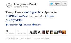 No Twitter, grupo hacker Anonymous assumiu autoria de ataque das páginas da Rio+20 e da ONU no Brasil (Foto: Reprodução)