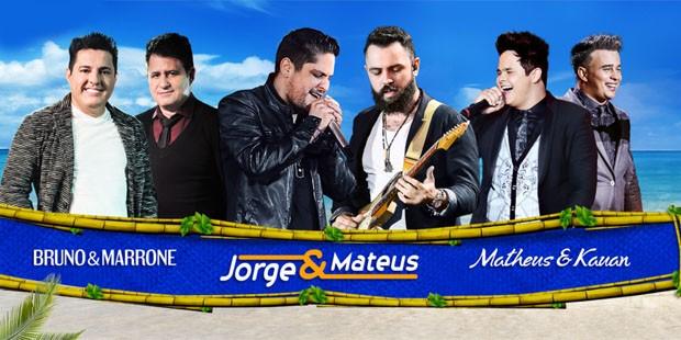 Entre as atrações: Jorge e Mateus, Matheus e Kauan e Bruno e Marrone (Foto: Divulgação)