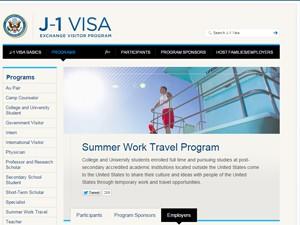 Página do site do programa para universitários trabalharem durante as férias nos EUA (Foto: Reprodução)