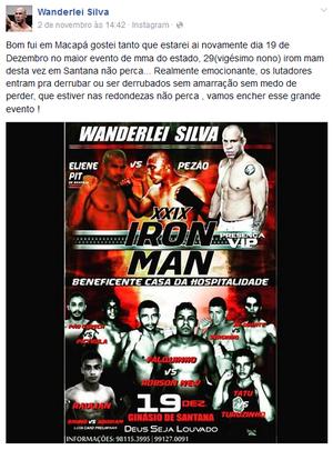 Wanderlei Silva; MMA; Amapá (Foto: Reprodução/Facebook)