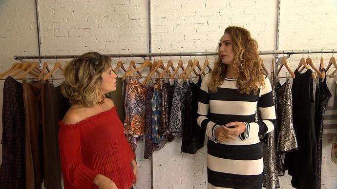 Paula Magalhães e Ninfa Oliveira fazem garimpo em Juazeiro (Foto: TV Bahia)