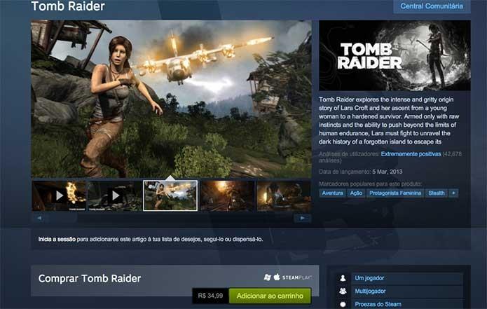 Tomb Raider vendido no Steam (Foto: Reprodução/Felipe Vinha)