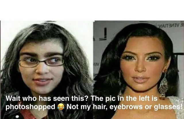 """Kim Kardashian e o """"antes e depois"""" photoshopado (Foto: Reprodução/ Snapchat)"""