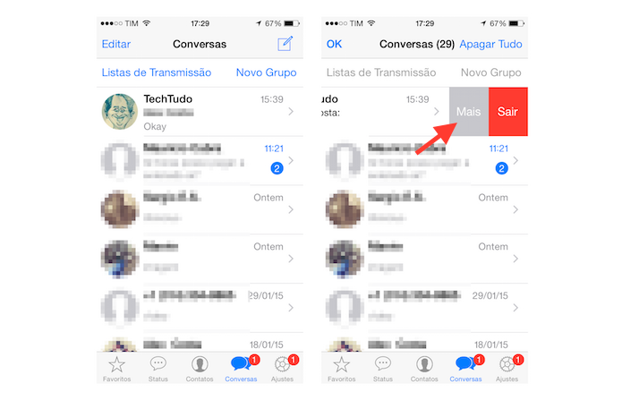 Acessando as configurações adicionais de um grupo do WhatsApp no iOS (Foto: Reprodução/Marvin Costa) (Foto: Acessando as configurações adicionais de um grupo do WhatsApp no iOS (Foto: Reprodução/Marvin Costa))
