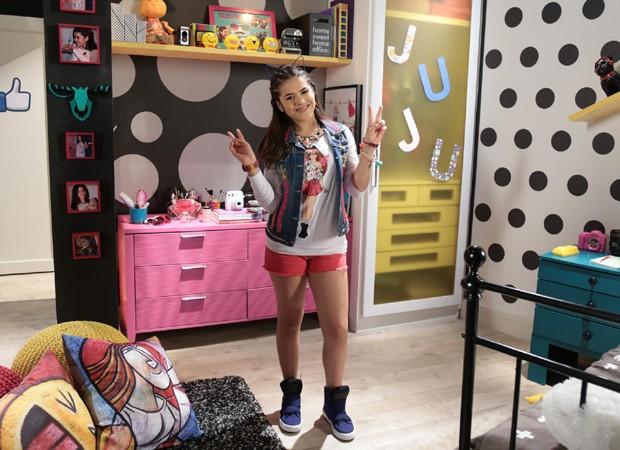 Maisa Silva caracterizada como Juju para as gravações de 'Carnha de Anjo' (Foto: Divulgação/SBT)
