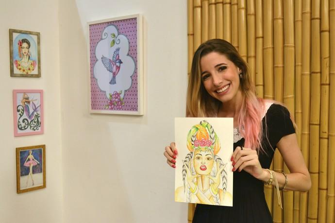 Camila Pasinato mostra seu trabalho no 'Canto das Artes' (Foto: Luana Daubian)