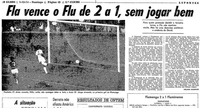 """""""O Globo"""" considerou que Fla e Júnior não foram bem apesar da vitória (Foto: Reprodução/Acervo O Globo)"""
