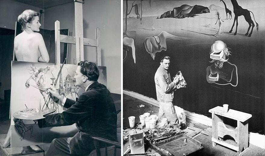 Salvador Dali trabalhando em dois dos muitos estúdios que teve ao longo da vida. (Foto: Reprodução)