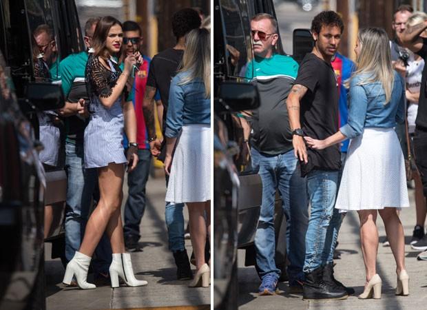 Bruna Marquezine acompanha Neymar em entrebista para TV americana (Foto: The Grosby Group)