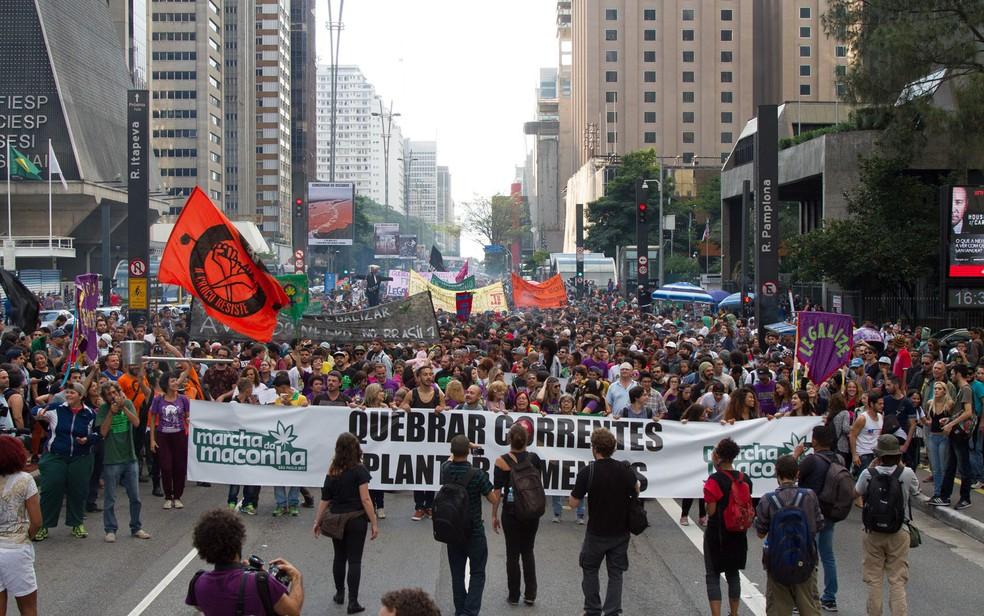 Marcha da Maconha seguiu pela Paulista (Foto: Kevin David/A7 Press/Estadão Conteúdo)