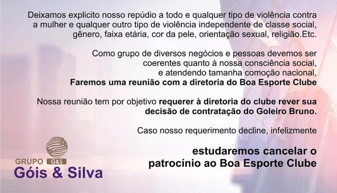 Grupo Góis & Silva pode romper com Boa Esporte após contratação do goleiro Bruno (Foto: Divulgação Grupo Góis & Silva)