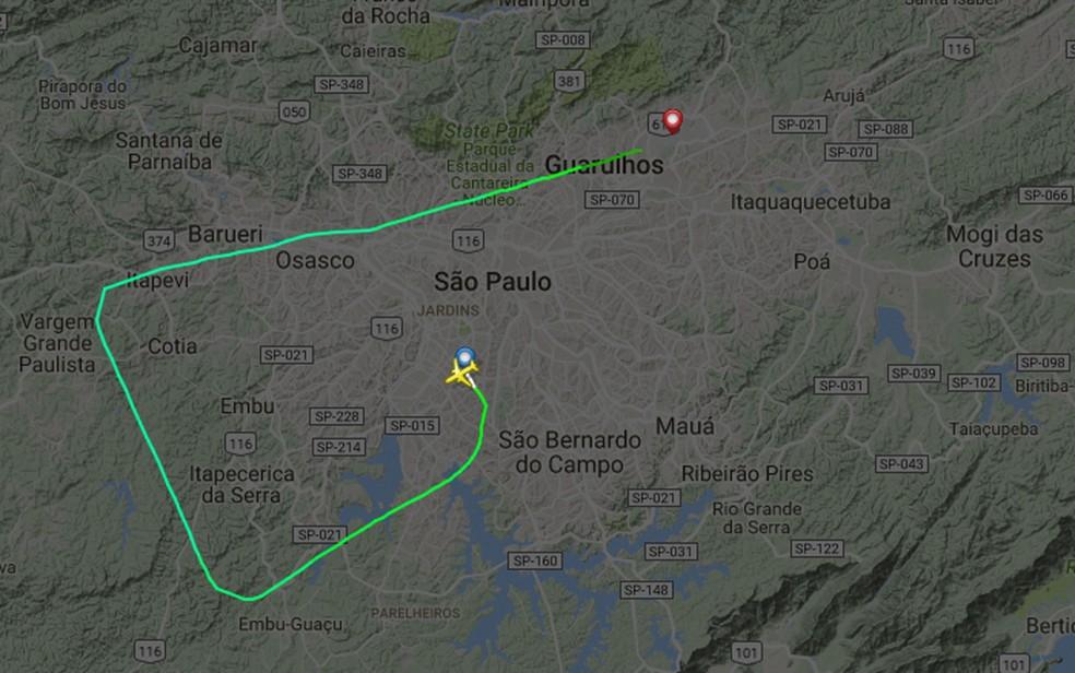 Trajeto de aeronave que saiu de Congonhas rumo a Brasília e pousou em Cumbica (Foto: Fligth Radar/Reprodução)