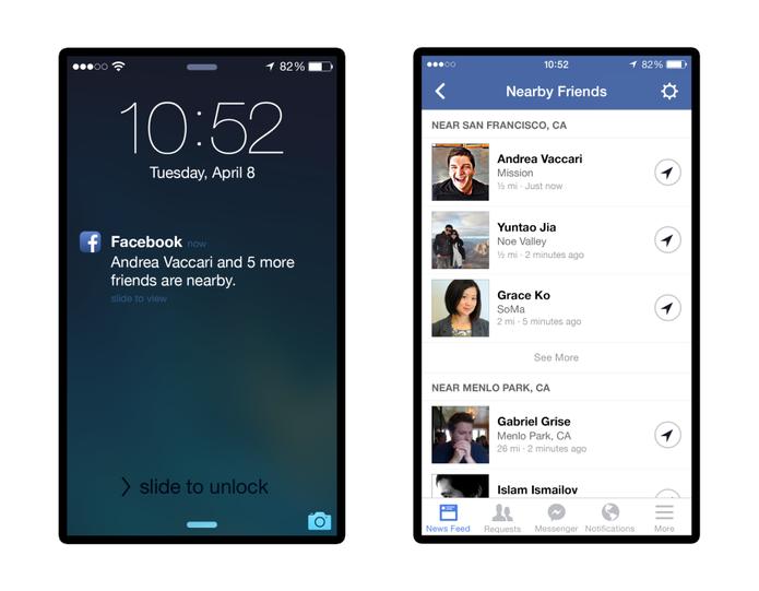 Nova cara do aplicativo de geolocalização de amigos, agora chamado Nearby Friends (Foto: Divulgação/ Facebook)