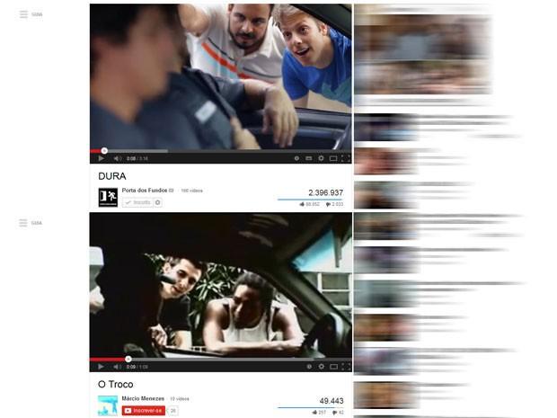 Acima, imagem do vídeo 'Dura', postado no canal do Porta dos Fundos nesta segunda-feira (3); abaixo imagem de 'O Troco', publicado em outro canal do YouTube em 19 de maio de 2006 (Foto: Reprodução/YouTube/Porta dos Fundos e Reprodução/YouTube/Márcio Menezes)