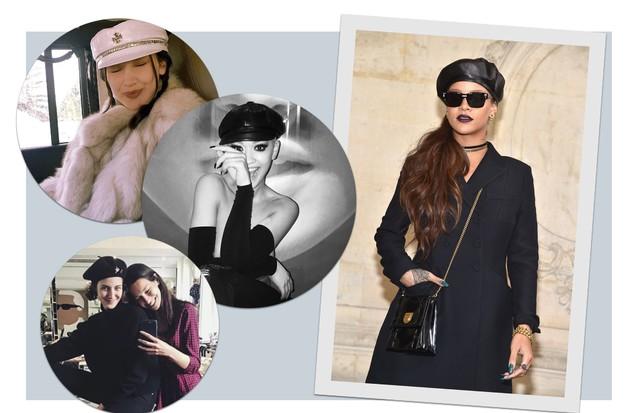 Boina faz a cabeça das famosas: Bella Hadid, Rita Ora, Cris Hermann e Rihanna (Foto: Getty Images e Reprodução/Instagram)