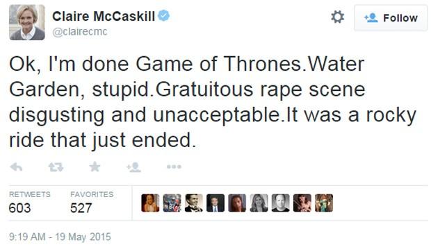 Senadora americana Claire McCaskill afirmou que vai abandonar a série 'Game of Thrones' através do Twitter (Foto: Reprodução/Twitter)