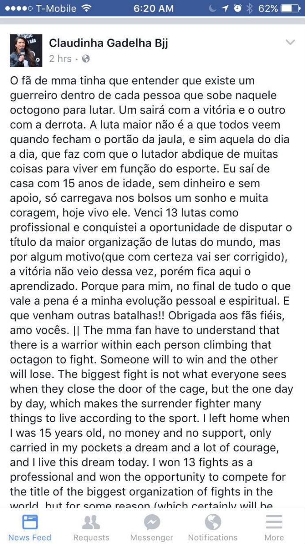 BLOG: Após segunda derrota na carreira, Cláudia Gadelha publica texto nas redes sociais