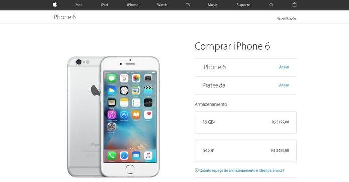 Loja oficial excluiu opção de 128 GB de iPhones 6 e 6 Plus (Foto: Reprodução/Apple)