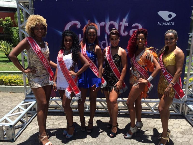 seis das doze candidatas ao Garota do Samba (Foto: Divulgação/ TV Gazeta)