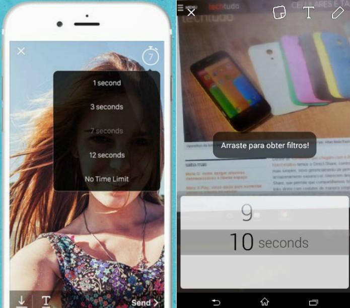 Snapchat e Viber Wink permitem bate-papo, com ícones divertidos, mas só o app da Viber requer instalação de programa extra para funcionar (Foto: Reprodução/Luciana Vieira)