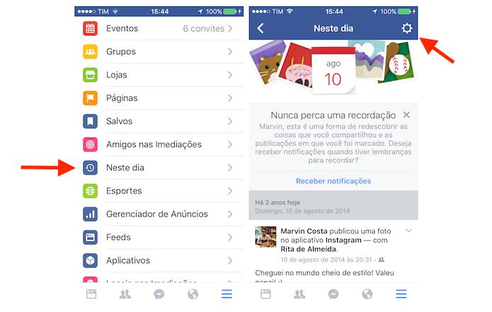 Acessando as configurações da opção Neste Dia do Facebook para iPhone (Foto: Reprodução/Marvin Costa)