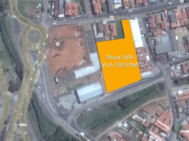 Satélite mostra onde será construída nova UPA em Piracicaba (Foto: Reprodução)
