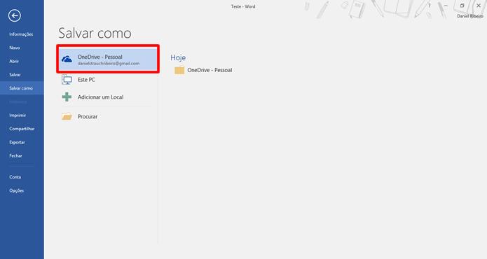 Selecione uma conta de OneDrive ou SharePoint (Foto: Daniel Ribeiro /TechTudo)