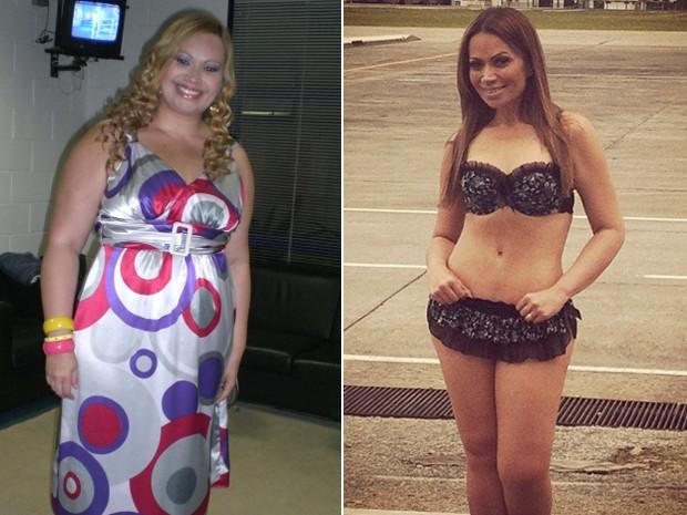 Solange Almeida antes e depois da cirurgia de redução de estômago (Foto: Arquivo pessoal)