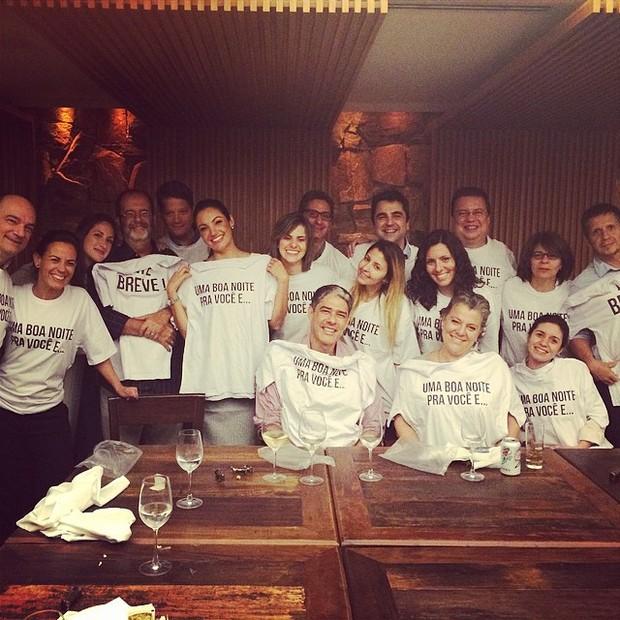 Patrícia Poeta em festa de despedida com William Bonner e equipe do Jornal Nacional (Foto: Instagram/ Reprodução)